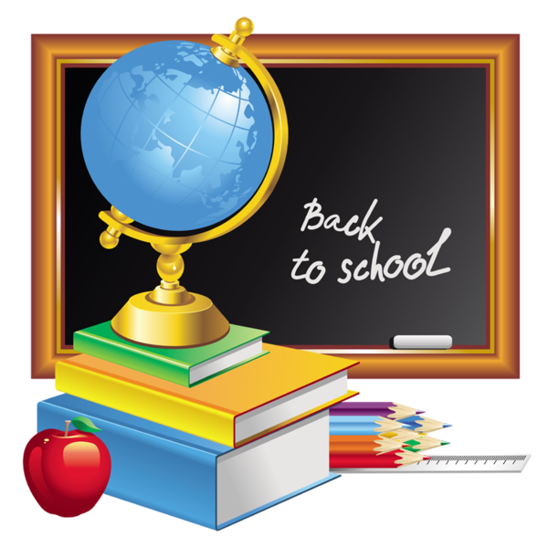 fournitures scolaires - clipart - tableau - globe - crayons