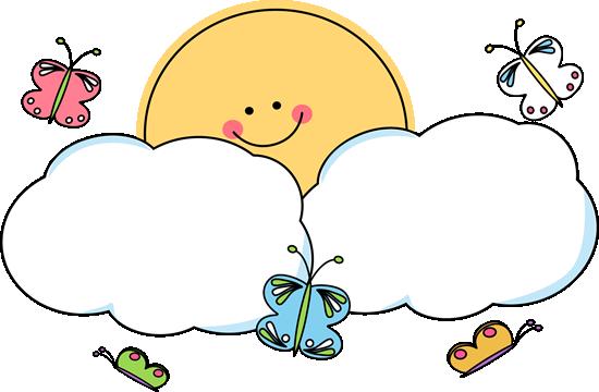 soleil- clipart soleil et nuages - papillons -