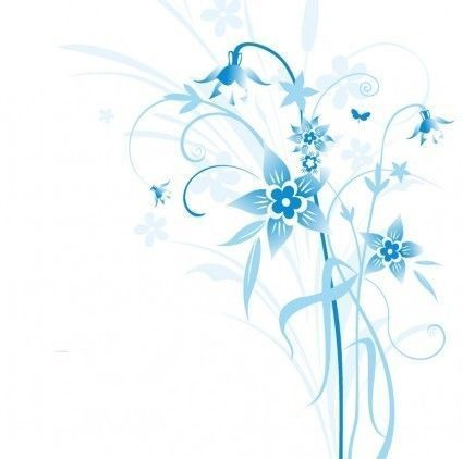 coin  bleu déco scrapbooking - abstract bleue floral vector