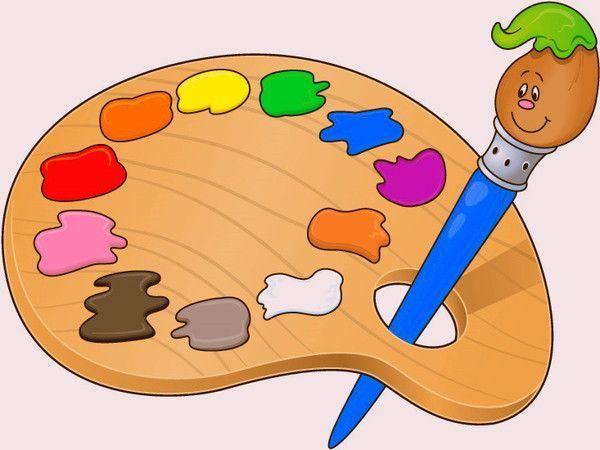 fournitures scolaires - palette de peintures - pinceau