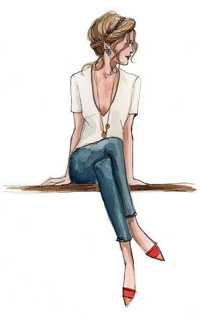 dessin jolie femme - assise - cheveux en chignon