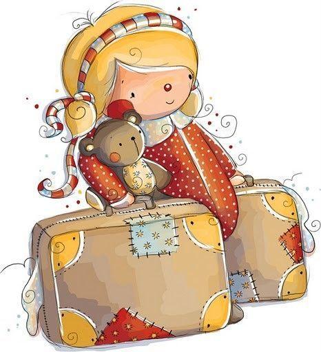 cute girl cartoon - fillette aux valises