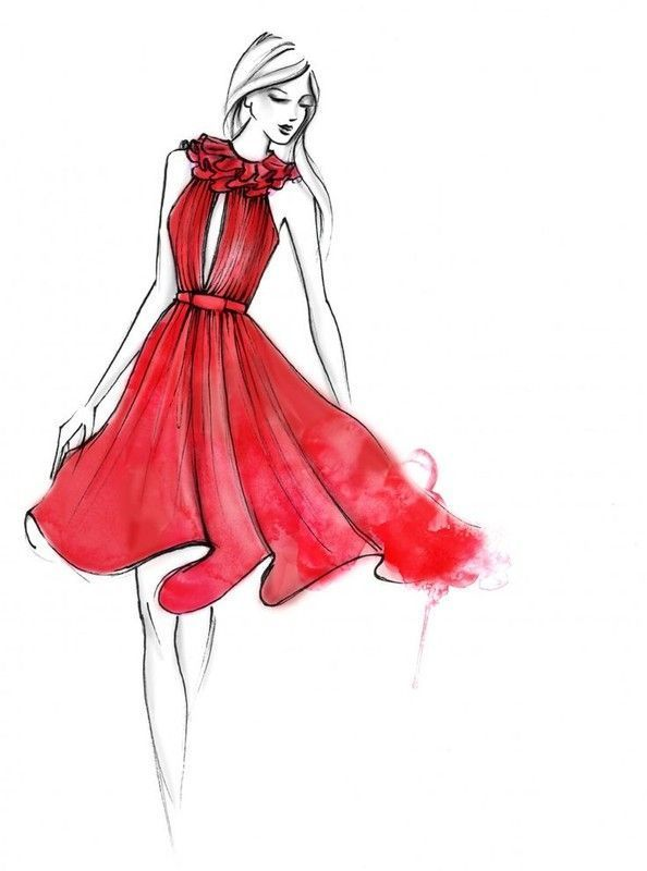 Fashion girl jolie femme mode robe rouge dessin for Best image comments