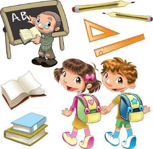 elements rentrée des classes - ecoliers - livres -