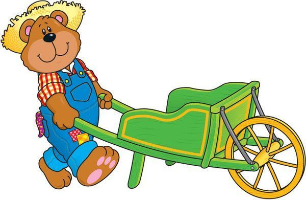 bear -  cute bear - bear -wheelbarrow