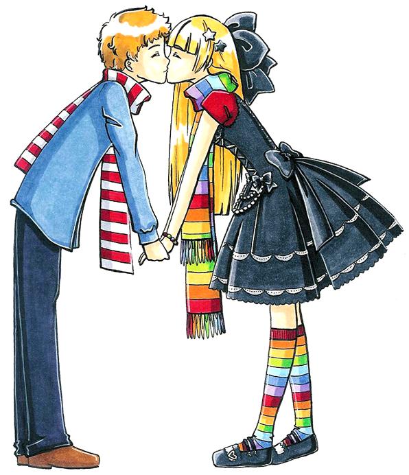 adorable couple se donnant un baiser