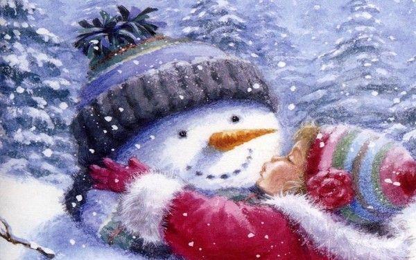 fond d'ecran bisou au bonhomme de neige