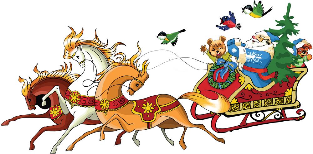 Boîte De Cadeau Le Jour De Noël Clip Art: Pére Noel En Traineau