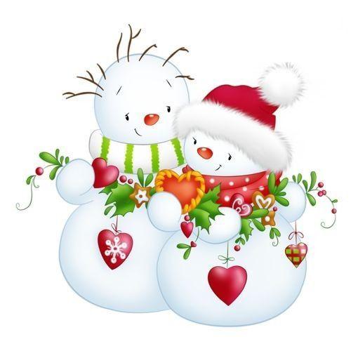 Bonhommes de neige clipart illustration hiver neige - Clipart bonhomme de neige ...